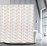 Pink and Gold Shower Curtain LIVILAN Fabric Shower Curtain Set with 12 Hooks Geometric Patterned Shower Curtain Machine Washable Decorative Bathroom Curtain Gold and White Shower Curtain Bathroom Decor 72