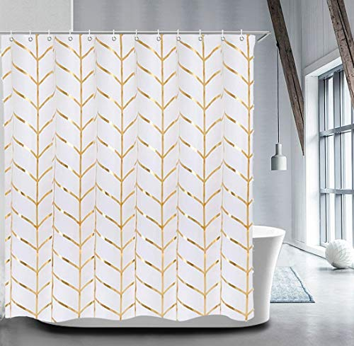 Fabric Shower Curtain Set with 12 Hooks Geometric Patterned Shower Curtain Machine Washable Decorative Bathroom Curtain Gold and White Waterproof Shower Curtain Bathroom Decor 72