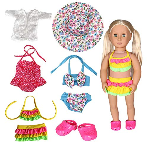Tanosy 3 Sets Doll Bathing Suits Summer Bikini Swimsuits and 1 Pair Polliwog Doll Shoes Holiday Beach Party Swimwear Clothes for 18 inch Girl Doll Xmas Gift (Suits Bathing 18 Inch Dolls For)