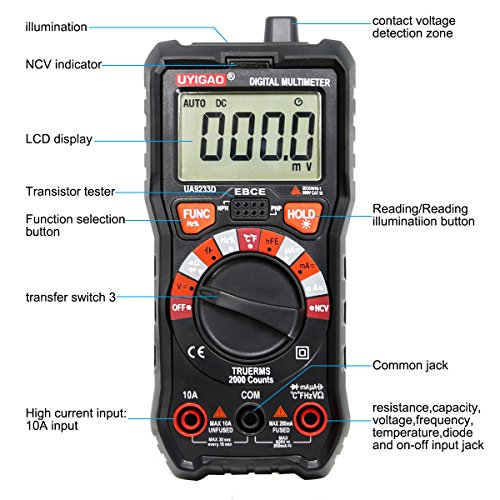 Digital Multimeter UYIGAO Auto-Ranging Digital Multimeters Electronic Measuring Instrument AC Voltage Detector Portable Amp Ohm Volt Test Meter Multi Tester Diode and Continuity Test Scanners Home Use by UYIGAO (Image #1)