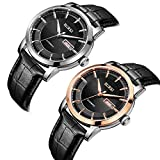 BUREI Mens Fashion Automatic Watches with Silver Case Datejust Mineral Lens Leather Band