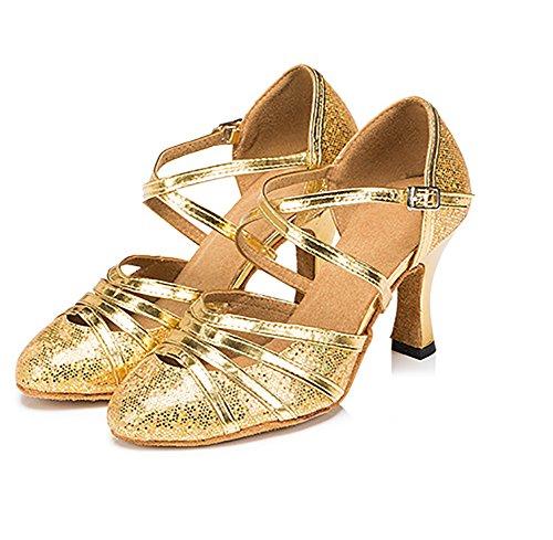 Womens Schuhe Tanzschuhe Moderner Golden Leise Ballroom Unten Dance Mittleren Heels Latin WYMNAME Tanzschuhe Helle Seite aqdzwSSO