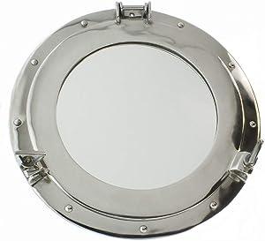 """RedSkyTrader 15"""" Aluminum Porthole Mirror with Polished Finish - Nautical Ship Decor"""