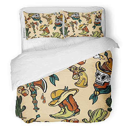 Emvency Decor Duvet Cover Set Full/Queen Size Animals Wild West Old School Tattoo Fashionable Western Cowboy Cactus Guns Cat 3 Piece Brushed Microfiber Fabric Print Bedding Set Cover]()