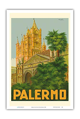 Pacifica Island Art - Palermo, Sicily, Italy - Duomo (Cathedral) - Vintage World Travel Poster by Attilio Ravaglia c.1930s - Master Art Print - 12in x 18in ()