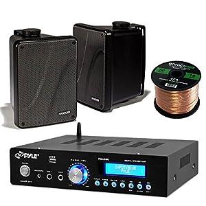 "Amp And Speaker Combo Packge: Pyle PDA5BU Bluetooth Radio USB AUX Amplifier Stereo Receiver Bundle With 2x Kicker KB6000B 6.5"" Full Range Bookshelf Waterproof Speaker + Enrock 50ft 16g Speaker Wire"