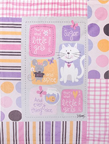 Manual Sugar and Spice and Everything Nice Fleece Printed Baby Nursery Bed Blanket SASSEN - Kitten Solid Grey
