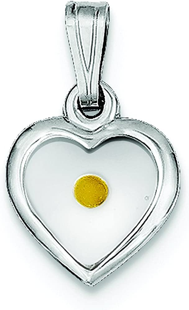 .925 Sterling Silver Small Heart with Mustard Seed Charm Pendant