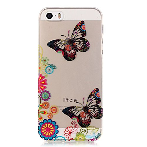 schönen Schmetterling Drucken Design weich Silikon weiß TPU schutzhülle Hülle für Apple iPhone 5 5S / SE,Premium Handy Tasche Schutz Case Cover transparent Crystal Bumper Schale für Apple iPhone 5 5S