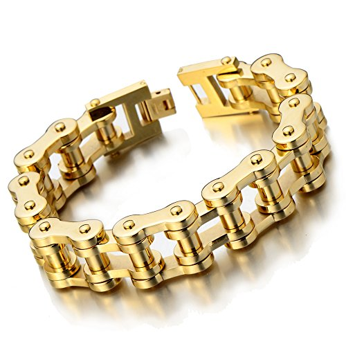 - COOLSTEELANDBEYOND Exquisite Mens Gold Bike Chain Bracelet of Stainless Steel High Polished