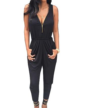 Moollyfox Donne Overall Tuta Intera Vestito Nera Zipper Tutine Eleganti  Donna Larghi Abbigliamento Vestiti Alla Moda Nero Xl  Amazon.it   Abbigliamento 7fc1b20a6f6