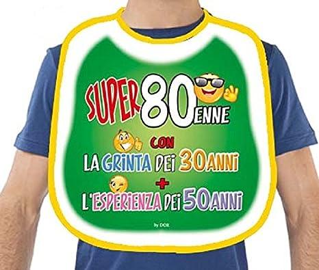 Bavaglione 80 Anni Gadget Stampato Idea Regalo Festa 80