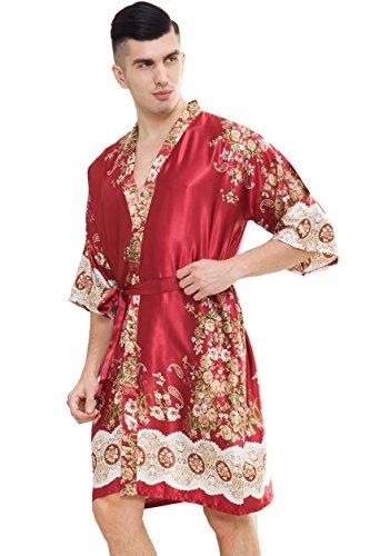 1d0ff19dd8 samurai JP Men s Kimono Robe Style Satin Relaxation Bathrobe With Towel