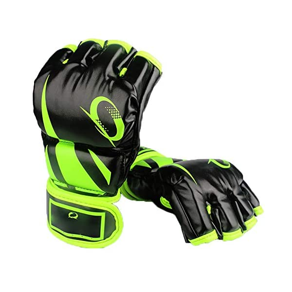 JIAGU-Kickboxing-Gloves-Punch-Bag-Half-finger-Boxing-Gloves-Taekwondo-Karate-MMA-Martial-Arts-Sparring-Muay-Thai-Training-Gloves-Color-Green