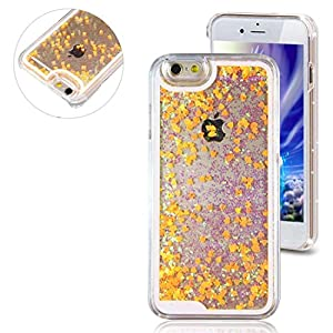 Rinastore iPhone 6s case,iphone 6 case,Creative Design Flowing Quicksand Moving Stars Bling 3D Glitter Floating Dynamic Flowing Case Liquid Cover for Iphone 6 4.7inch (Orange heart)