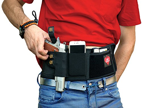 AOS - Belly Band Holster For Concealed Carry BUNDLE | SUPERIOR Elastic Neoprene Waistband | Survival Bracelet+Bag | Ambidextrous Draw | IWB Holder For ALL Pistols Revolver Glock 9mm | Men & Women