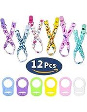 12PCS Schnullerband Baby mit Silikonring für Schnuller, Schnullerketten clip für Lätzchen Dreieckstuch Sauger Schnuller für Baby Junge Mädchen JAANY