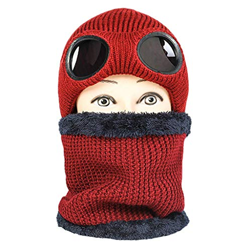 Knit Beanie Pilot Hat Neckwarmer,Crytech Unisex Winter Warm Windproof Thick Fleece Lined Wool Knitted Skull Ski Aviator Goggle Cap with Scarf for Women Men Outdoor Sport Cycling (Red)