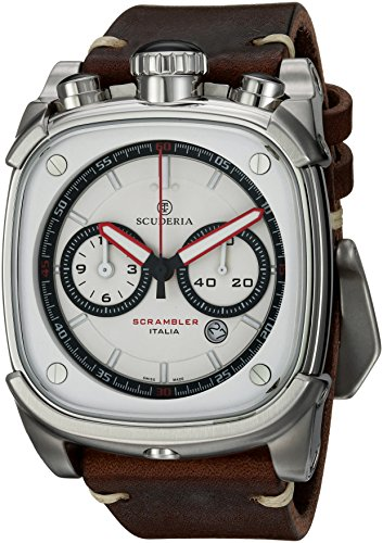 CT-Scuderia-Mens-Scrambler-Swiss-Quartz-Stainless-Steel-and-Leather-Casual-Watch-ColorBrown-Model-CS70107