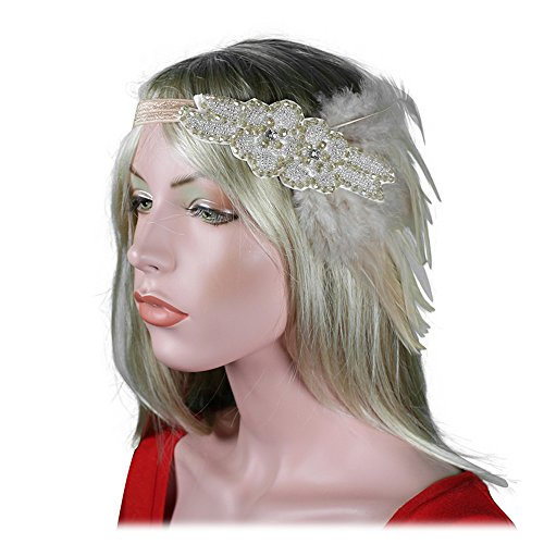 Women 20s 30s Party Prom Vintage 1920s Gatsby Light Brown Pink Halloween Headpiece Headbands Flapper Pearl Headdress - Gatsby Brown