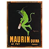 Wood-Framed Maurin Metal Sign for kitchen on reclaimed, rustic wood For Sale