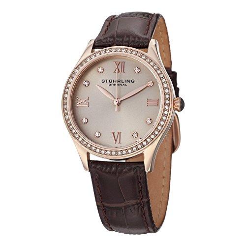 Stuhrling Original Women's 431.05 Vogue Swiss Quartz Rose Tone Brown Watch
