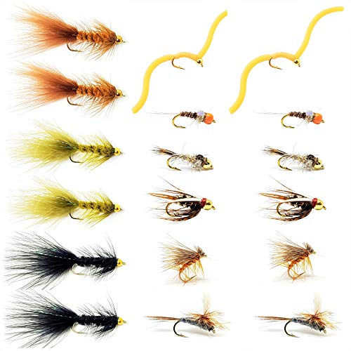 The Fly Crate Essential Dry Fly, Nymph, Streamer Assortments for Trout Fly Fishing (18 Fly Pack) ()