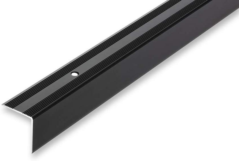 Treppenwinkel 30 x 32 x 1000 mm 6 Farben Treppenkantenprofil selbstklebend ungebohrt ungebohrt-selbstklebend gebohrt 30 x 32 x 1000 mm , schwarz Kantenschutz Kantenwinkel