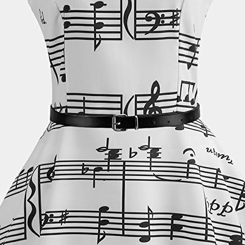 Abiti Serale Elegante LEvifun Donna Vestiti Cerimonia Estivi Vestito Casual Donna Donna Musicali Abito Bianca Stampa Vintage Estate Donne Note Di Party TwFpqf