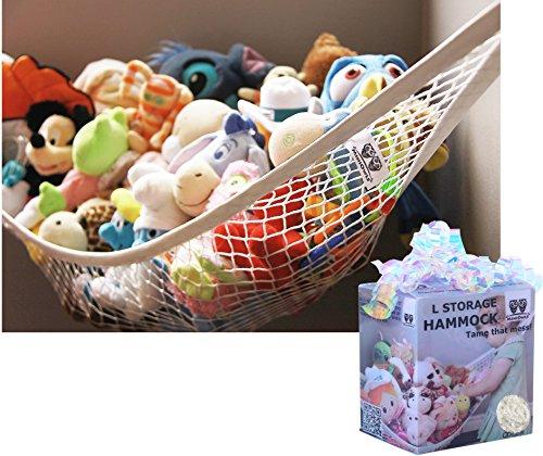 Spa Dog Bag Gift (MiniOwls Toy Storage Hammock Large Organizer White (also comes in XL) De-cluttering Solution & Inexpensive Idea for Every Room at Home or Facility - 3% is Donated to Cancer Foundation)