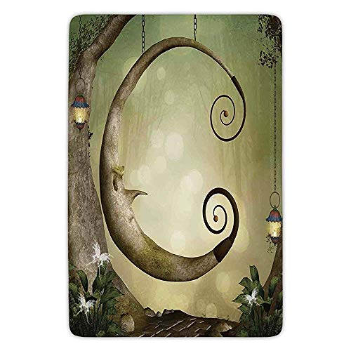 K0k2t0 Bathroom Bath Rug Kitchen Floor Mat Carpet,Cartoon,Forest Secret Swing Old Tree Curly Half Moon Shaped Lamps Butterflies Lights,Khaki Light Brown,Flannel Microfiber Non-Slip Soft Absorbent