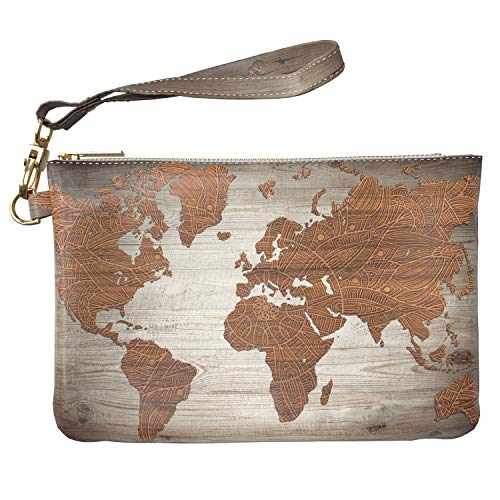 Lex Altern Makeup Bag 9.5 x 6 inch Wood Texture Grain Atlas Mandala Bohemian Wristband Girly Accessory Design Print Purse Pouch Cosmetic Travel Leather Case Toiletry Women Zipper Organizer Storage