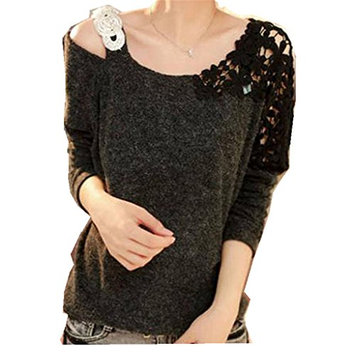 Pullover Sweater, Rukiwa New Fashion Women Long Sleeve Knitted Pullover Loose Sweater Knitwear (M, Black)