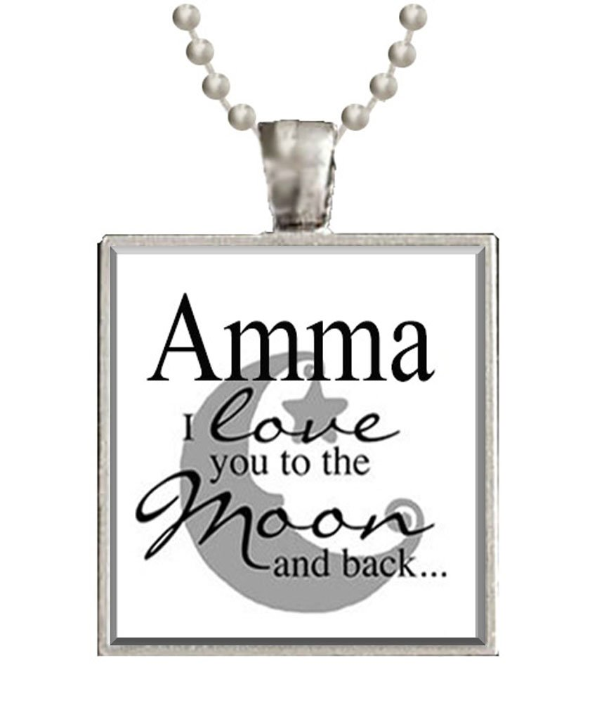 Amazon.com: Amma I love you to the Moon and Back Glass Tile Pendant ...