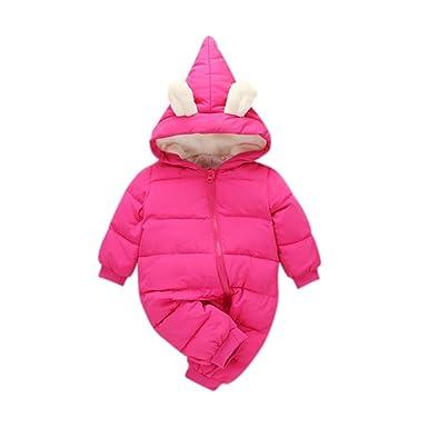 1944b9501ef9 Image Unavailable. CYNDIE Winter Warm Baby Girl Boy Snowsuit Cute Cartoon  Hooded Zipper Romper Lovely Ear Long Sleeves