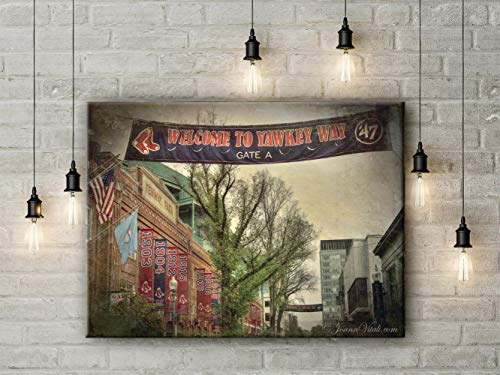 Boston Red Sox Fenway Park Yawkey Way Championship Banners Canvas Gallery Wrap