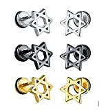 Fate Love Star of David Stainless Steel Mens Womens Screwback Earrings Stud,Black /Gold /Silver