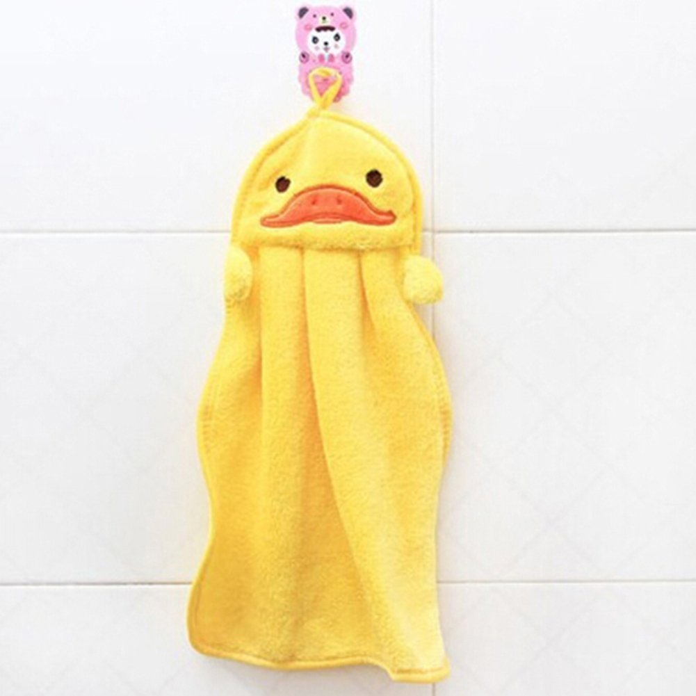 fulla2116mano asciugamano morbido peluche tessuto Hanging Wipe telo da bagno (giallo anatra)