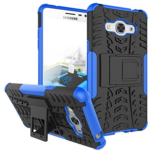 J3 Emerge Case, Galaxy J3 2017/ Amp Prime 2/ J3 Luna Pro/ Express Prime 2 Case, KMISS Hybrid Heavy Duty Armor Protection Cover [Anti Slip] [Built-In Kickstand] Skin Case For Samsung J3 Emerge (Blue)