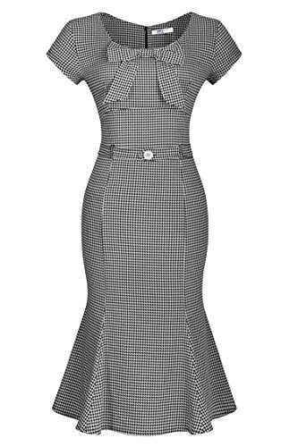 Hot ANG Ladies Vintage Houndstooth-Print Bow Slim Retro Dress For Party supplier