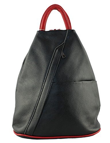 à décontracté Daniela cuir rouge épaule Moda Style Noir pleine en Cavalieri et à main Sac Designer italien dos Sac fleur xB0wxvqdf