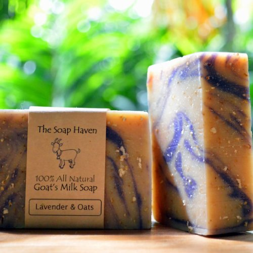 LAVENDER  OATMEAL Goat Milk Soap (4 Bar Pack) – Handmade in USA. Wonderful for all skin types. 100% All Natural. SLS Free. NO Sulfates, NO Parabens, …