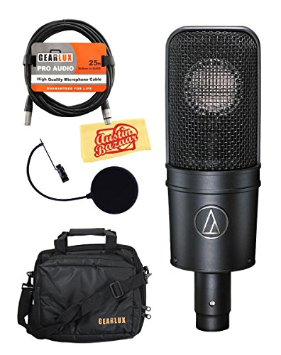 Audio-Technica AT4040 Cardioid Condenser Microphone Bundle with Gear Bag, Pop Filter, XLR Cable, Polishing Cloth