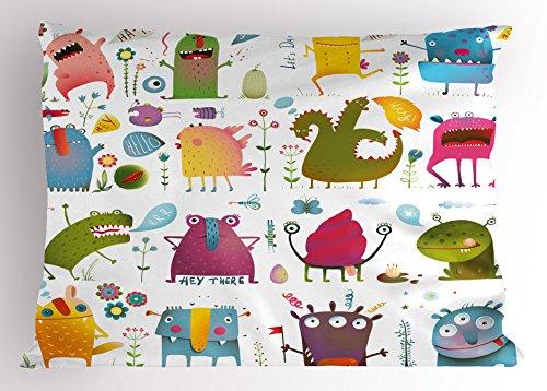 Groovy Garden Pillow (Funny Pillow Sham by Lunarable, Cute Cartoon Monsters Kids Design