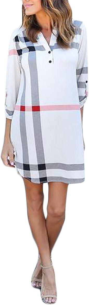 HaiDean Blusas De Mujer Kleid Mangas 3/4 V Cuello A Cuadros ...