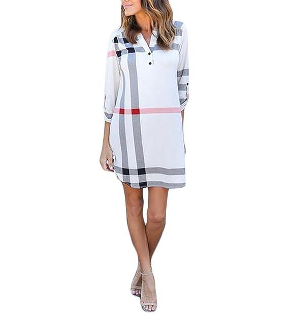 Blusas De Mujer Kleid Mangas 3/4 V Cuello A Cuadros Mini Vestido Fashion Anchos