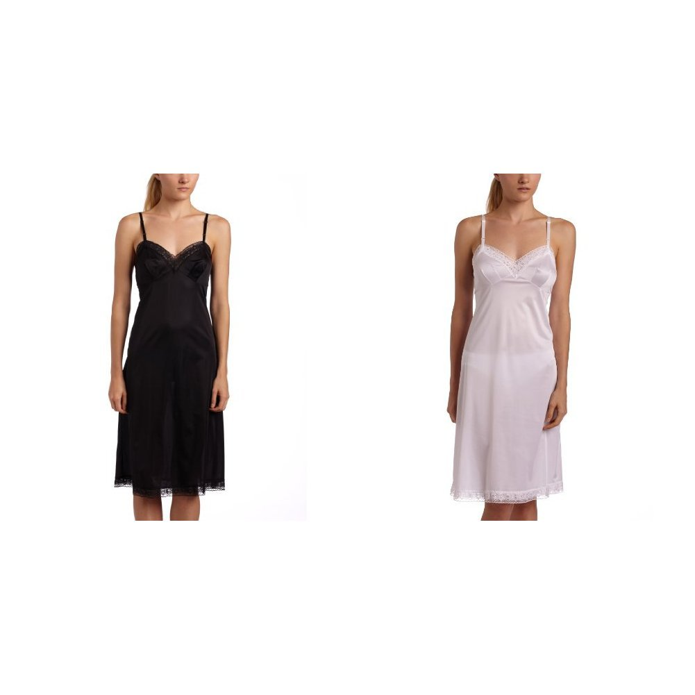 Midnight Black//Star White 26 Length 42 Bust Vanity Fair Womens  Rosette Lace Full Slip 10103