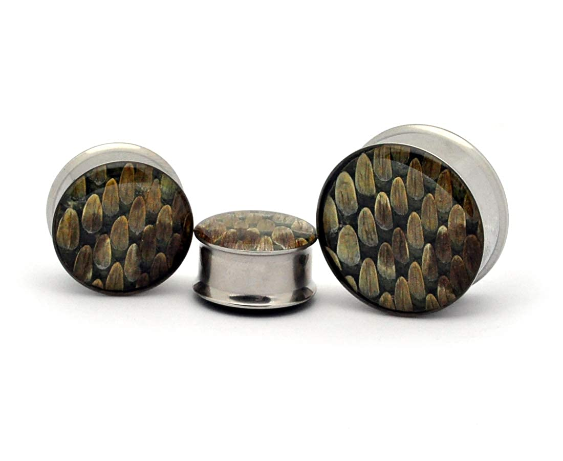 Sold As a Pair Mystic Metals Body Jewelry Embedded Real Rattlesnake Skin Plugs