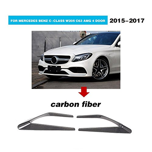 For Mercedes Benz C-Class W205 C63 AMG 2015 2016 2017 MCARCAR KIT Front Fender Scoop Aftermarket Real Carbon Fiber Vents Trims