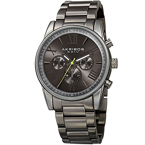 Akribos XXIV Men's Swiss Quartz Multi-Function Accented Sunray Dial with Stainless Steel Bracelet Watch (Dark Gray)